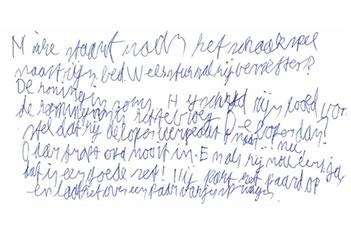 Het handschrift van een 11-jarige