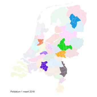Ingekleurde landkaart vergoede jeugdzorg Kernvisie methode per 1 maart 2018