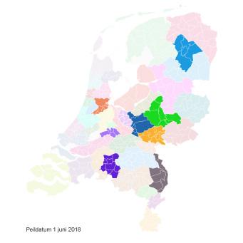 Ingekleurde landkaart vergoede jeugdzorg Kernvisie methode per 1 juni 2018