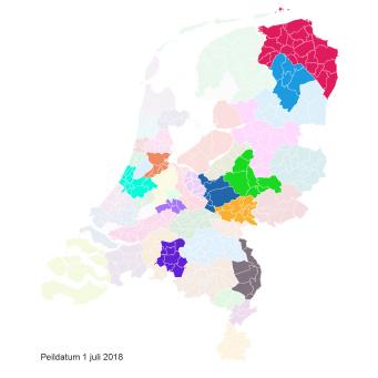 Ingekleurde landkaart vergoede jeugdzorg Kernvisie methode per 1 juli 2018