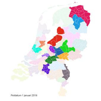 Ingekleurde landkaart vergoede jeugdzorg Kernvisie methode per 1 januari 2019