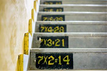 Een trap waarbij op het stoorbord van iedere trede een som van de tafel van 7 is gezet.